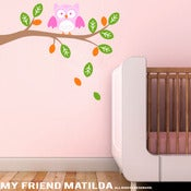 Image of Owl on a Branch Wall Decal M006 Sticker Nursery Kids Room