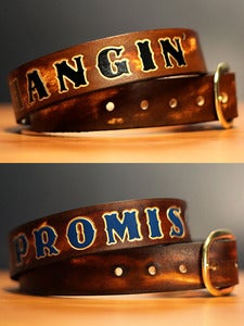 "Image of 1 1/2"" Custom Brown Leather Name Belt, Personalized With Anything"