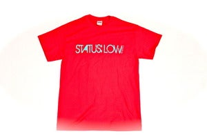 Image of Status:Low.com T-Shirt - Teal on Red