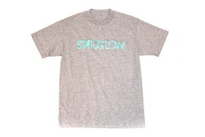 Image of Status:Low.com T-Shirt - Teal on Ash Gray