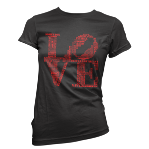 Image of Women's Aphillyated® LOVE Tee (Black/Red)