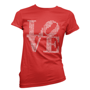 Image of Women's Aphillyated® LOVE Tee (Red/White)