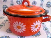 Image of Pretty Orange Daisy Enamel Casserole