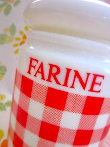 Image of 1970s Red Gingham Farine/Flour Canister