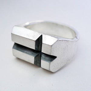 Image of Sterling Silver Notched Cross Ring <br/> <br/>