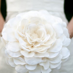 Image of bridal bloom, fabric wedding bouquet