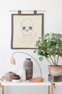 Image of My Embroidery Kit - Skull with grey floss color
