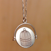 Image of Sterling Silver Bird + Bird Cage Spinner