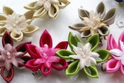 Image of Small Kanzashi Hair Flowers / Hair Clips / Brooches -Pointed Petals - Choose your own colour
