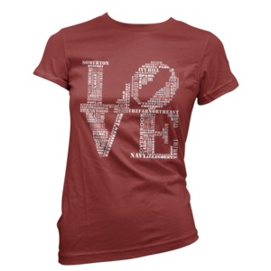 Image of Women's Aphillyated® LOVE Tee (Maroon/White)