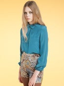 Image of AW11 Lula's Silk Birdie Shirt in Turquoise 