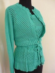 Image of 70s teal pointelle sweater set
