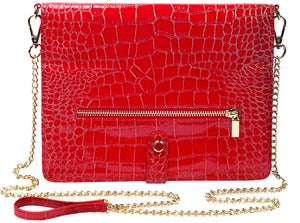 Image of Polly - Faux Croc Leather in Red