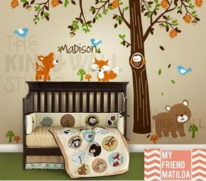 Image of Children Wall Decal Vinyl Wall Sticker tree decal - Forest Friends with custom name - KK116