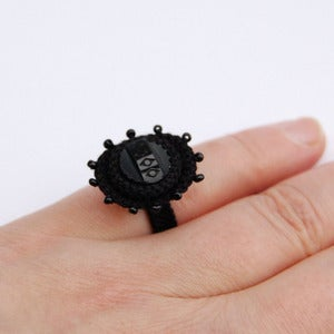 Image of Black Victorian style ring