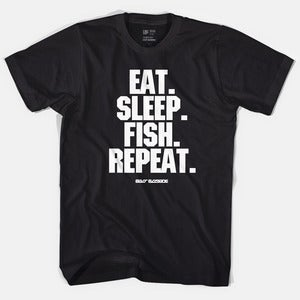 Image of Bass Brigade Eat. Sleep. Fish. Repeat. Tee - Black