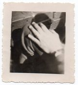 Image of HAND ON THE KNEE VINTAGE SNAPSHOT PHOTO