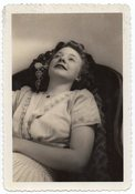 Image of WOMAN HAVING A GOOD DAYDREAM VINTAGE SNAPSHOT PHOTO