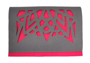 Image of pink taupe felt clutch