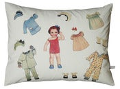 Image of Handmade cushion on organic cotton  Leni vintage paper doll