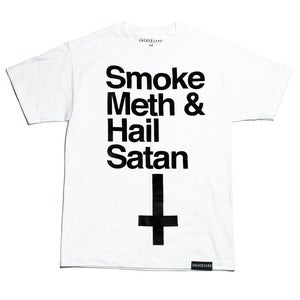 Image of Smoke Meth & Hail Satan White T-Shirt