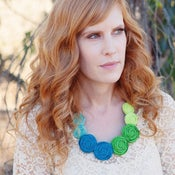 Image of NEW! modern pearl rosette statement necklace {colorwheel by the sea}