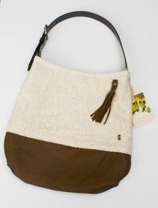 Image of -S O L D- vintage lace + leather two-tone shoulder bag (d)