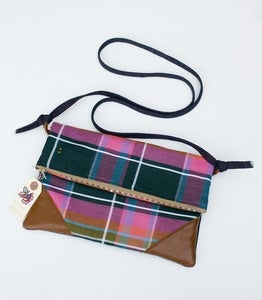Image of -S O L D- 30% OFF! a foldover clutch in vintage plaid with a removable strap!