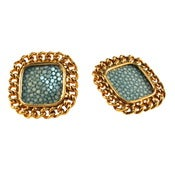 Image of Candice Stud Earrings - Turquoise Stingray