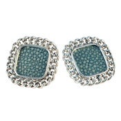 Image of Candice Stud Earrings - Silver/Turquoise Stingray *As seen in Nylon Magazine