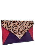 Image of Leopard Colorblocking Clutch