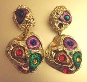 Image of Vintage Multi Colored Clip On Earrings