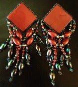 Image of Burgundy Multi Colored Beaded Clip On Earrings