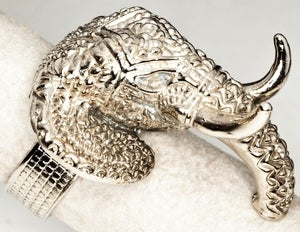 Image of Indian Elephant - White Bronze Ring