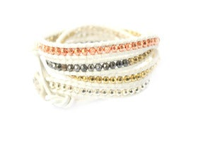 Image of FROST Multi Metals Leather Wrap Bracelet