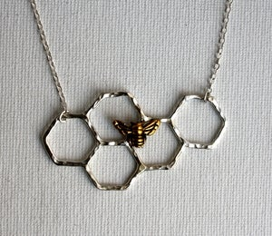 Image of Honeycomb Necklace with a Perched Bee - Handmade Necklace