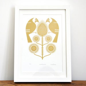 Image of Goldfinches - Hand Printed Gocco Print