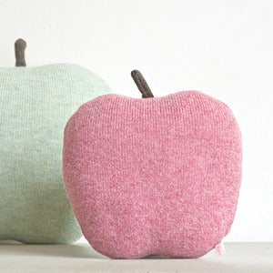 Image of Apple shaped cushion - small size color red