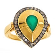 Image of  Kara Ackerman <i> Alice Rose <i/> Emerald and Diamond Ring