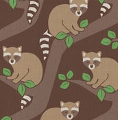 Image of raccoons fabric sample