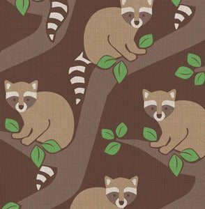 Image of raccoons fabric strike off