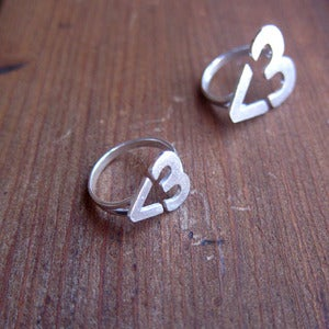 Image of Small version - I Heart You <3 Hear Ring - Handmade Silver Ring