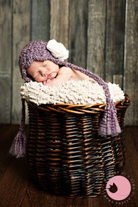Image of Pixie Bonnet in Purple with cream fabric flower