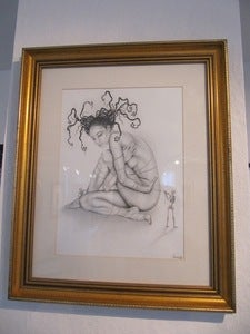 "Image of ""The Abstract Convention"" framed criterium on drawing paper original by Liliwenn"