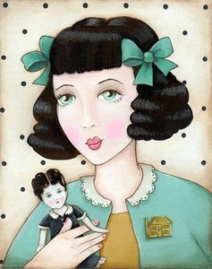 "Image of ""Penny""  pretty girl with doll portrait  matted ready to frame fits 11x14 frame"