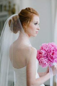 Image of Single Layer Tulle Bridal Veil Mid Length with Plain Edge in Ivory or White by Fine &amp; Fleurie