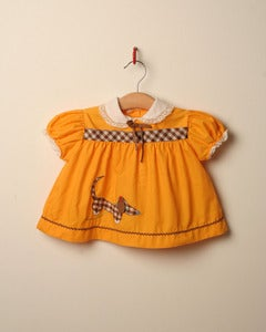 Image of c. 1970s sausage dog applique dress