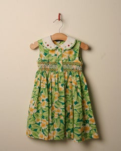 Image of c. 1980s ladybird and floral print smocked dress