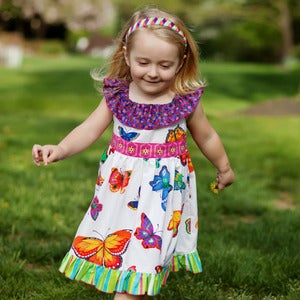 Image of Ruffle Neck Dress Pattern - The Daydreamer Dress for Girls 2-10