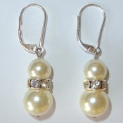Image of Pearl Drop Earrings Sterling Silver Leverback